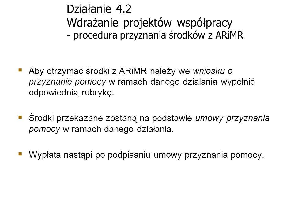 Działanie 4.2 Wdrażanie projektów współpracy - procedura przyznania środków z ARiMR Aby otrzymać środki z ARiMR należy we wniosku o przyznanie pomocy