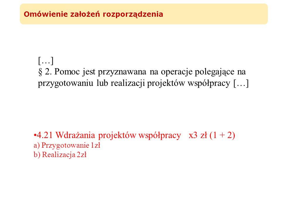 Omówienie założeń rozporządzenia […] § 2. Pomoc jest przyznawana na operacje polegające na przygotowaniu lub realizacji projektów współpracy […] 4.21