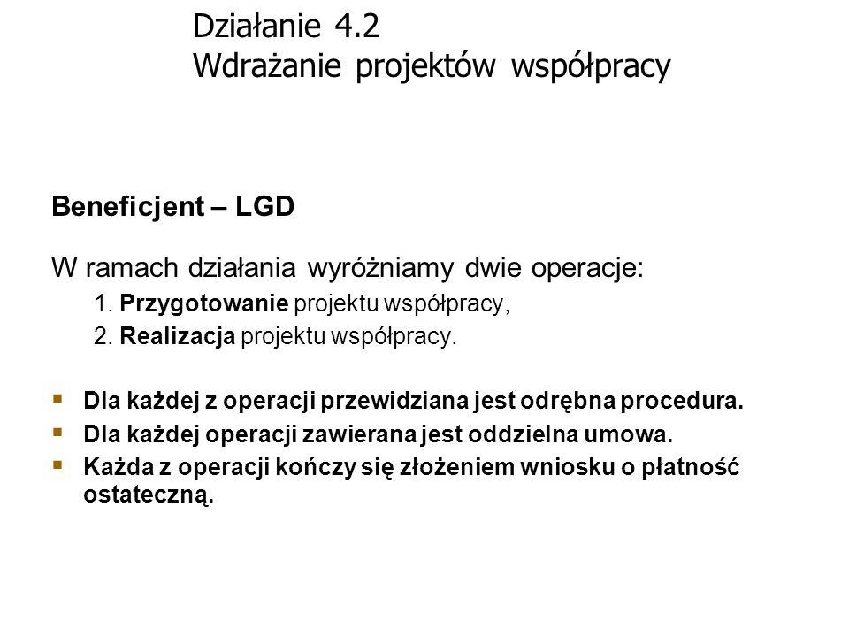 Działanie 4.2 Wdrażanie projektów współpracy Beneficjent – LGD W ramach działania wyróżniamy dwie operacje: 1. Przygotowanie projektu współpracy, 2. R