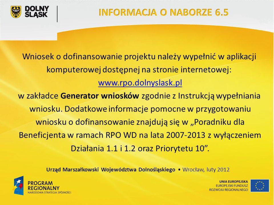 Wniosek o dofinansowanie projektu należy wypełnić w aplikacji komputerowej dostępnej na stronie internetowej: www.rpo.dolnyslask.pl w zakładce Generat