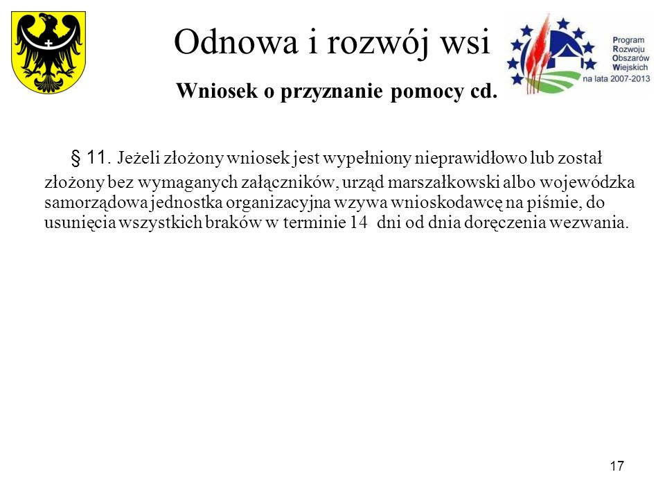 17 Odnowa i rozwój wsi Wniosek o przyznanie pomocy cd.