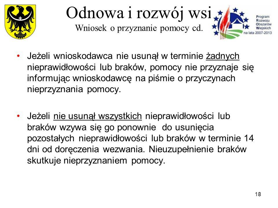 18 Odnowa i rozwój wsi Wniosek o przyznanie pomocy cd.