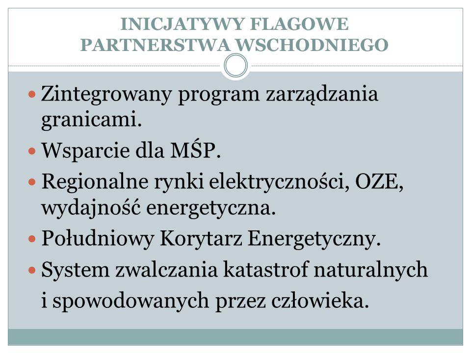 INICJATYWY FLAGOWE PARTNERSTWA WSCHODNIEGO Zintegrowany program zarządzania granicami. Wsparcie dla MŚP. Regionalne rynki elektryczności, OZE, wydajno