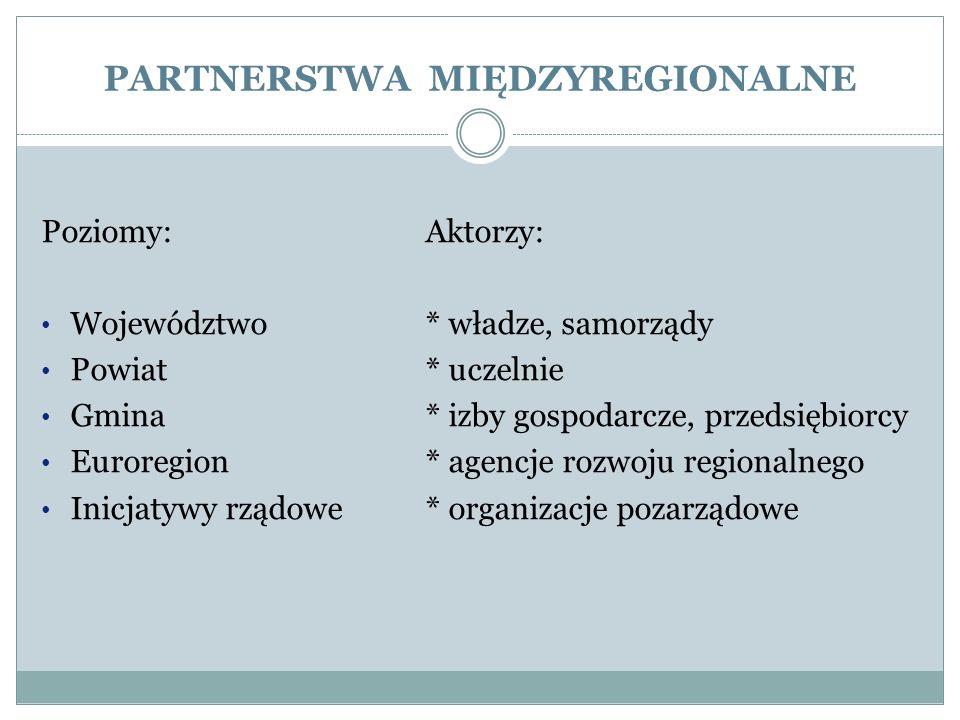 PARTNERSTWA MIĘDZYREGIONALNE Poziomy:Aktorzy: Województwo* władze, samorządy Powiat* uczelnie Gmina* izby gospodarcze, przedsiębiorcy Euroregion* agen