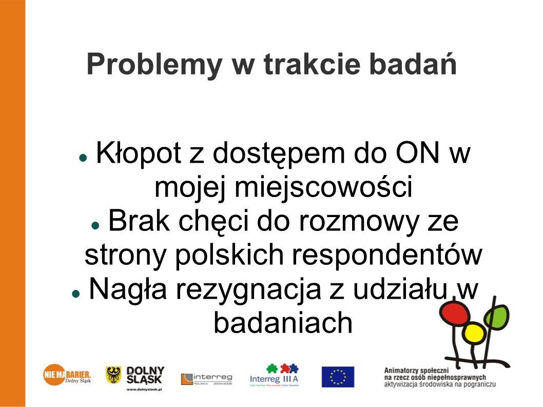 Problemy w trakcie badań Kłopot z dostępem do ON w mojej miejscowości Brak chęci do rozmowy ze strony polskich respondentów Nagła rezygnacja z udziału w badaniach