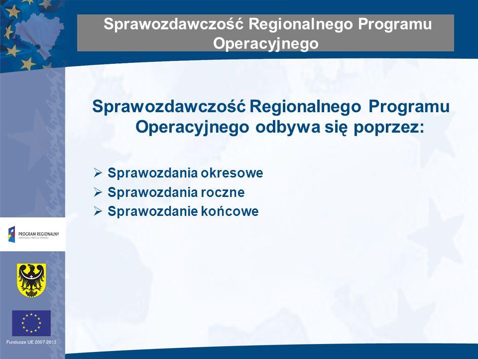 Sprawozdawczość Regionalnego Programu Operacyjnego odbywa się poprzez: Sprawozdania okresowe Sprawozdania roczne Sprawozdanie końcowe Sprawozdawczość Regionalnego Programu Operacyjnego