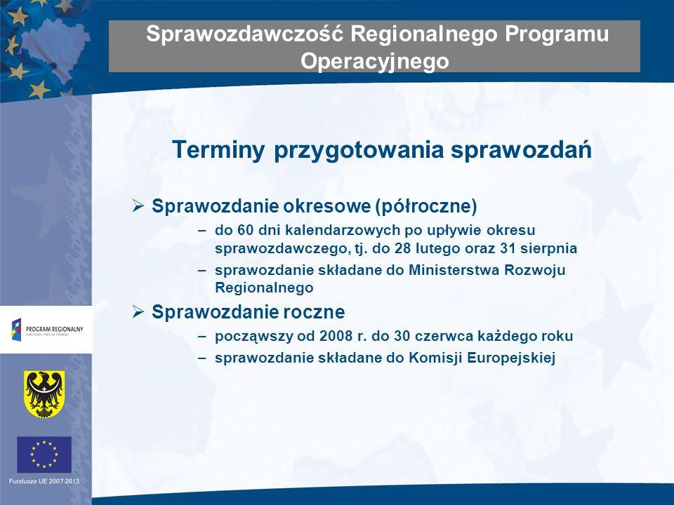 Terminy przygotowania sprawozdań Sprawozdanie okresowe (półroczne) –do 60 dni kalendarzowych po upływie okresu sprawozdawczego, tj.