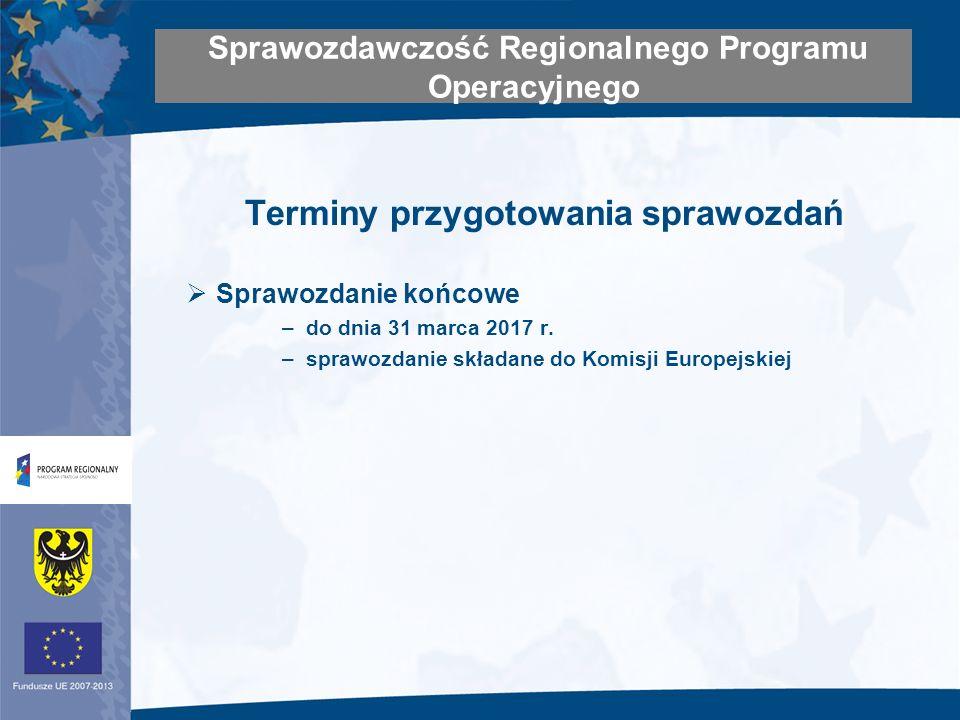 Terminy przygotowania sprawozdań Sprawozdanie końcowe –do dnia 31 marca 2017 r.