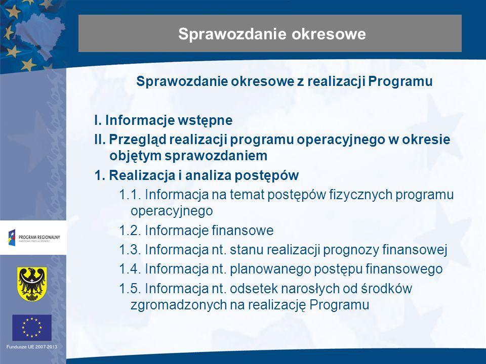 Sprawozdanie okresowe z realizacji Programu I. Informacje wstępne II.