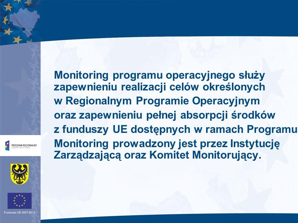 Instytucja Zarządzająca i Komitet Monitorujący zapewniają jakość realizacji Programu prowadząc monitorowanie poprzez odniesienie do wskaźników finansowych i rzeczowych.