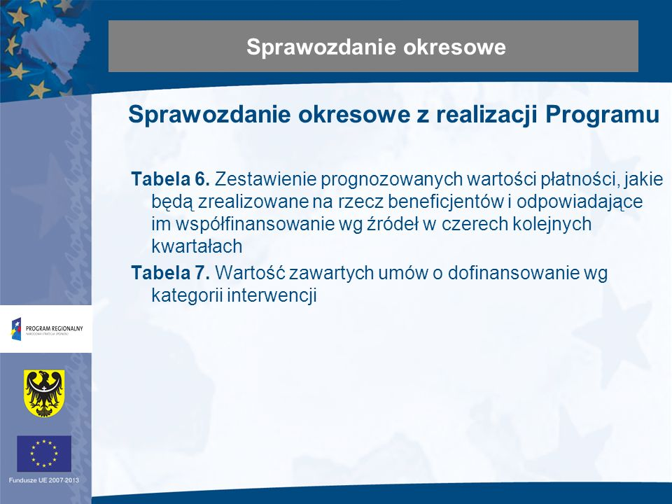 Sprawozdanie okresowe z realizacji Programu Tabela 6.