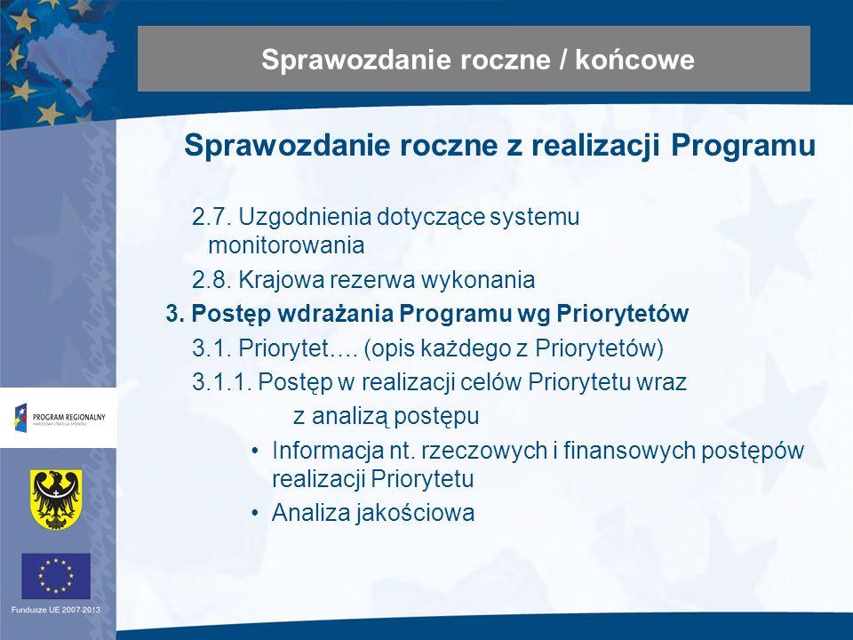 Sprawozdanie roczne z realizacji Programu 2.7. Uzgodnienia dotyczące systemu monitorowania 2.8.