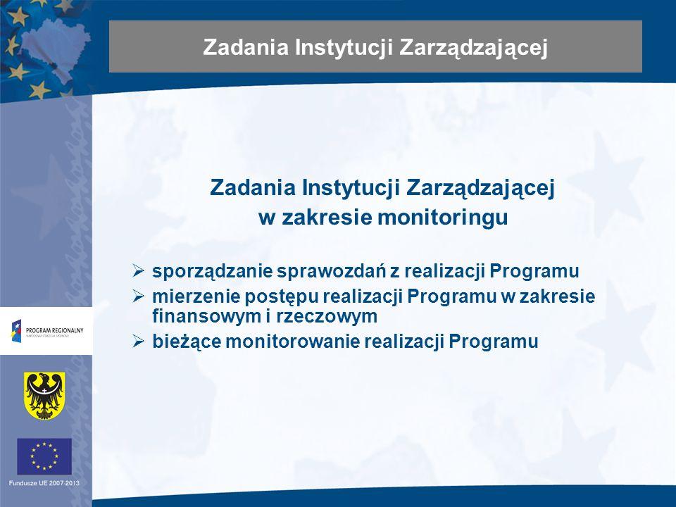 Zadania Instytucji Zarządzającej w zakresie monitoringu sporządzanie sprawozdań z realizacji Programu mierzenie postępu realizacji Programu w zakresie finansowym i rzeczowym bieżące monitorowanie realizacji Programu Zadania Instytucji Zarządzającej