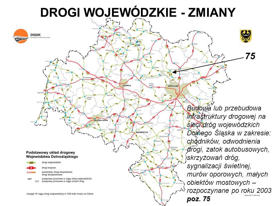 DROGI WOJEWÓDZKIE - ZMIANY poz. 75 Budowa lub przebudowa infrastruktury drogowej na sieci dróg wojewódzkich Dolnego Śląska w zakresie: chodników, odwo