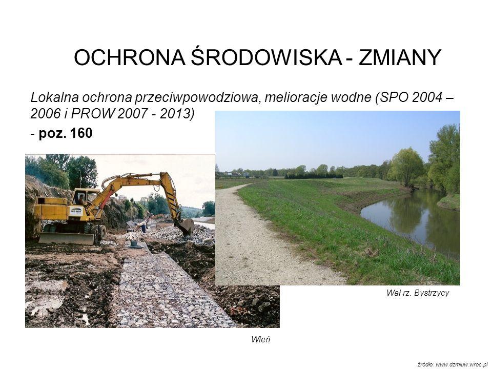 Lokalna ochrona przeciwpowodziowa, melioracje wodne (SPO 2004 – 2006 i PROW 2007 - 2013) - poz. 160 OCHRONA ŚRODOWISKA - ZMIANY Wał rz. Bystrzycy Wleń