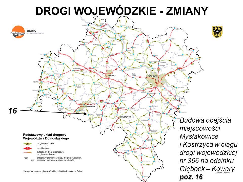 DROGI WOJEWÓDZKIE - ZMIANY poz. 16 Budowa obejścia miejscowości Mysłakowice i Kostrzyca w ciągu drogi wojewódzkiej nr 366 na odcinku Głębock – Kowary