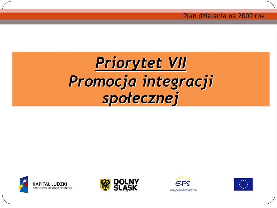 Plan działania na 2009 rok Priorytet VII Promocja integracji społecznej Plan działania na 2009 rok