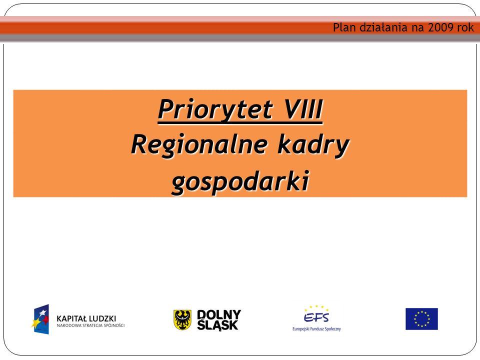 Plan działania na 2009 rok Priorytet VIII Regionalne kadry gospodarki Plan działania na 2009 rok