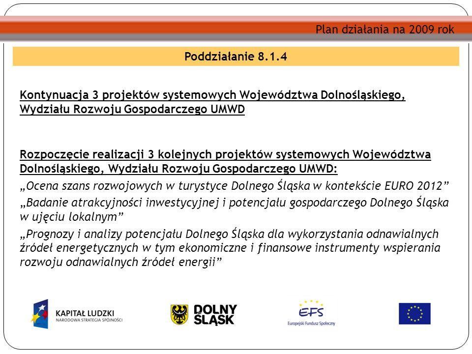 Plan działania na 2009 rok Poddziałanie 8.1.4 Kontynuacja 3 projektów systemowych Województwa Dolnośląskiego, Wydziału Rozwoju Gospodarczego UMWD Rozp