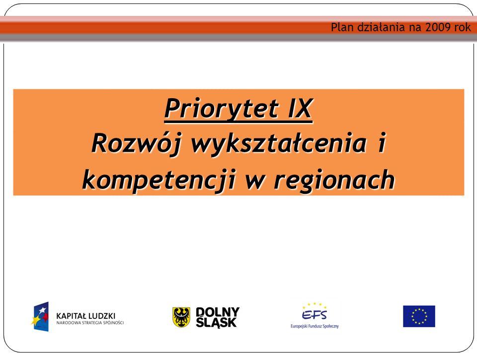 Plan działania na 2009 rok Priorytet IX Rozwój wykształcenia i kompetencji w regionach Plan działania na 2009 rok