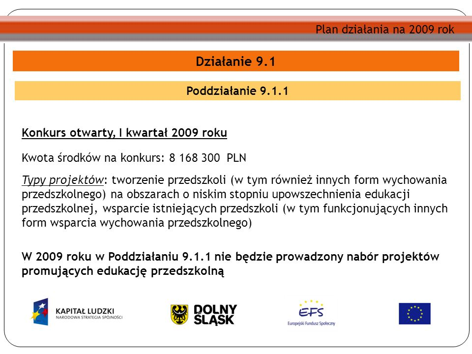 Działanie 9.1 Poddziałanie 9.1.1 Konkurs otwarty, I kwartał 2009 roku Kwota środków na konkurs: 8 168 300 PLN Typy projektów: tworzenie przedszkoli (w tym również innych form wychowania przedszkolnego) na obszarach o niskim stopniu upowszechnienia edukacji przedszkolnej, wsparcie istniejących przedszkoli (w tym funkcjonujących innych form wsparcia wychowania przedszkolnego) W 2009 roku w Poddziałaniu 9.1.1 nie będzie prowadzony nabór projektów promujących edukację przedszkolną