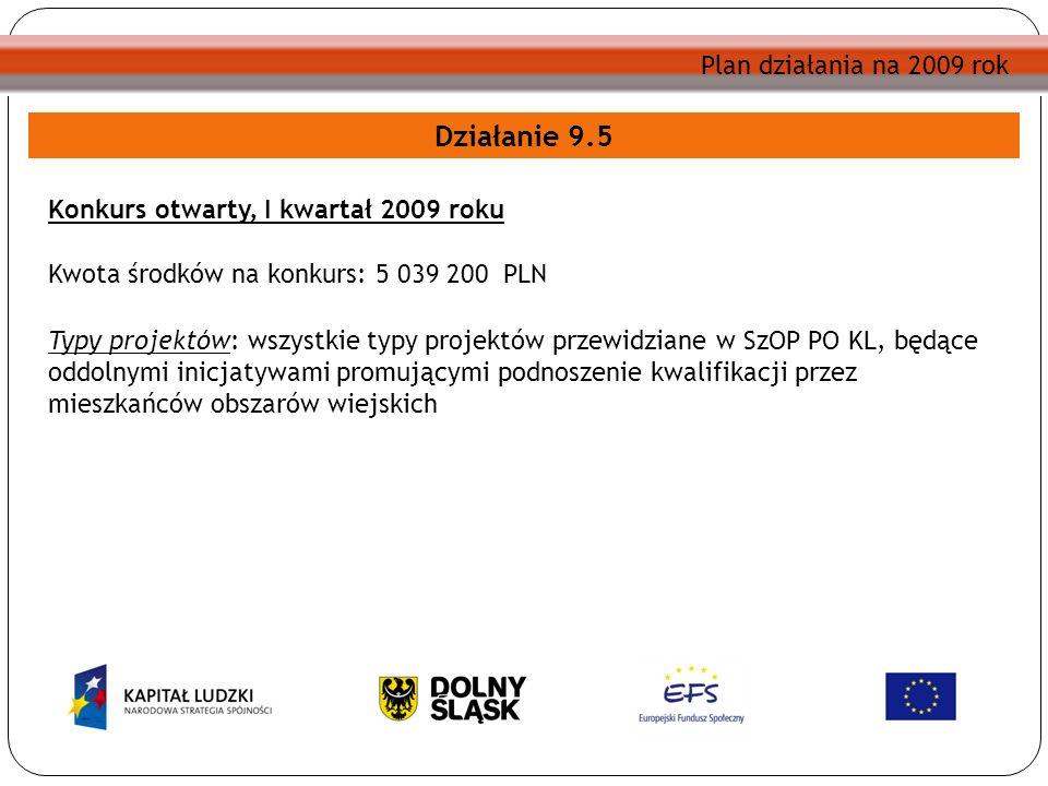 Plan działania na 2009 rok Działanie 9.5 Konkurs otwarty, I kwartał 2009 roku Kwota środków na konkurs: 5 039 200 PLN Typy projektów: wszystkie typy p