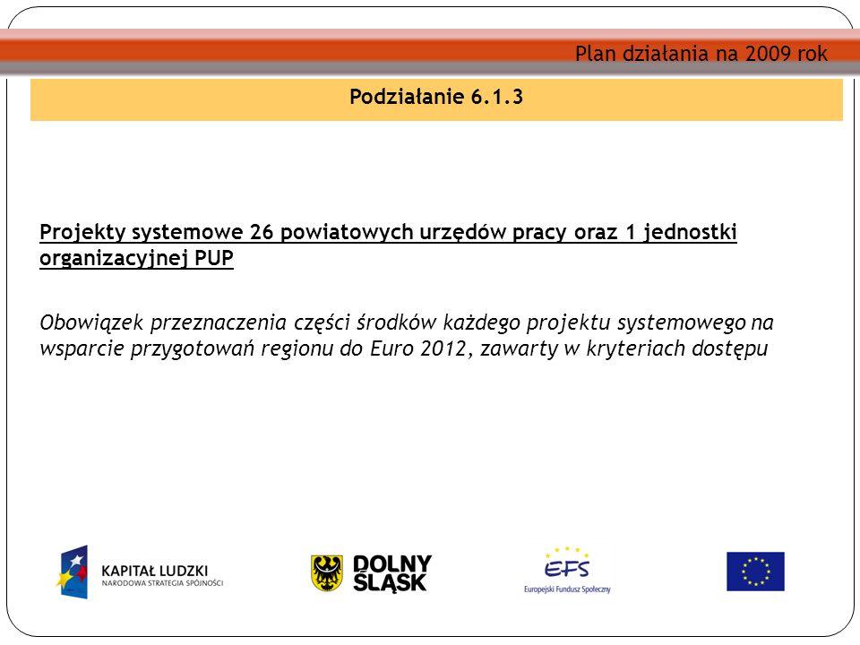 Plan działania na 2009 rok Podziałanie 6.1.3 Projekty systemowe 26 powiatowych urzędów pracy oraz 1 jednostki organizacyjnej PUP Obowiązek przeznaczenia części środków każdego projektu systemowego na wsparcie przygotowań regionu do Euro 2012, zawarty w kryteriach dostępu