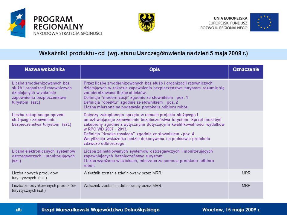 Urząd Marszałkowski Województwa Dolnośląskiego27 lutego 2008 r.14 Nazwa wskaźnikaOpisOznaczenie Liczba zmodernizowanych baz służb i organizacji ratowniczych działających w zakresie zapewnienia bezpieczeństwa turystom (szt.) Przez liczbę zmodernizowanych baz służb i organizacji ratowniczych działających w zakresie zapewnienia bezpieczeństwa turystom rozumie się zmodernizowaną liczbę obiektów.