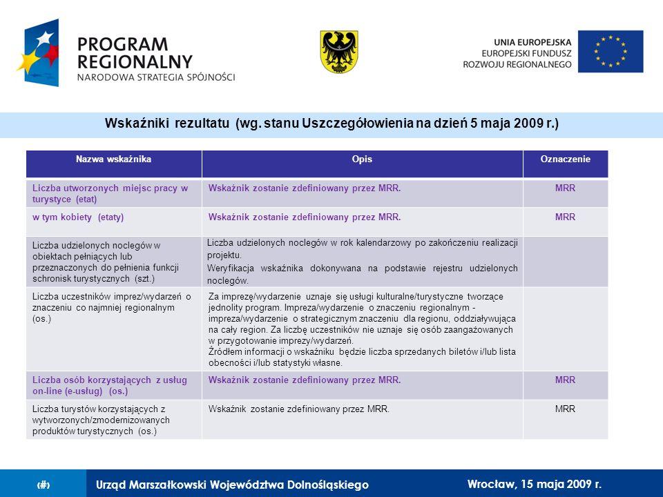 Urząd Marszałkowski Województwa Dolnośląskiego27 lutego 2008 r.15 Nazwa wskaźnikaOpisOznaczenie Liczba utworzonych miejsc pracy w turystyce (etat) Wskaźnik zostanie zdefiniowany przez MRR.MRR w tym kobiety (etaty)Wskaźnik zostanie zdefiniowany przez MRR.MRR Liczba udzielonych noclegów w obiektach pełniących lub przeznaczonych do pełnienia funkcji schronisk turystycznych (szt.) Liczba udzielonych noclegów w rok kalendarzowy po zakończeniu realizacji projektu.