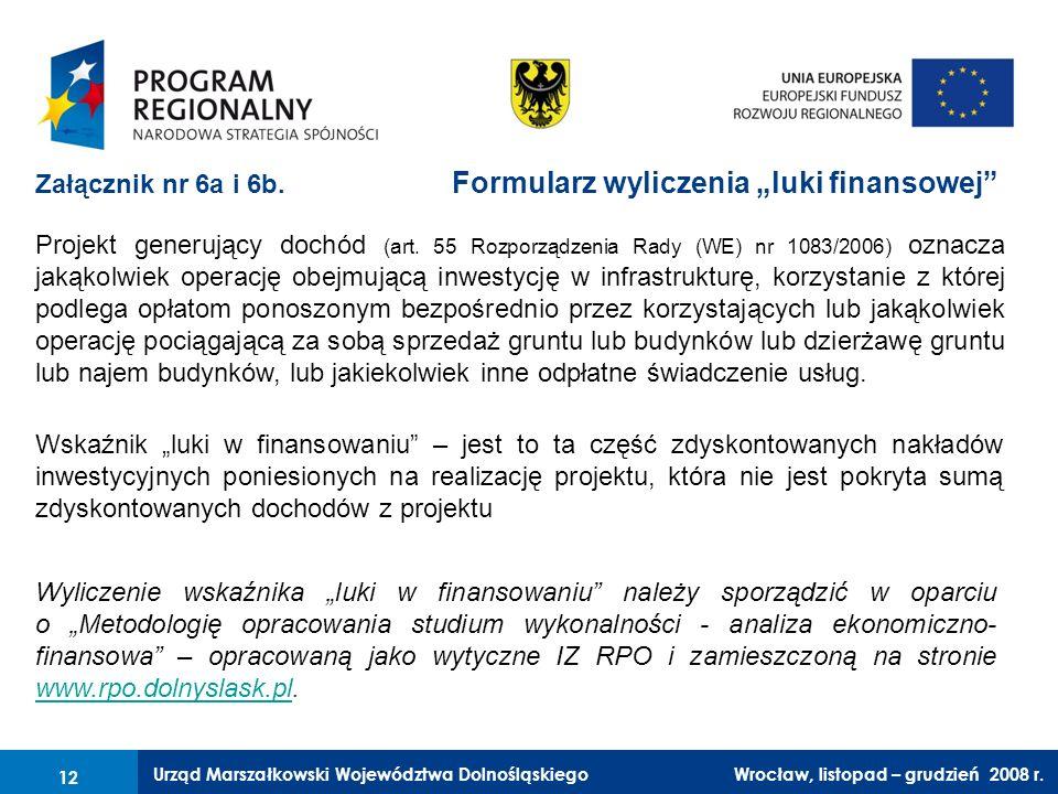 Urząd Marszałkowski Województwa Dolnośląskiego Wrocław, 6 czerwca 2008 r. 12 Załącznik nr 6a i 6b. Formularz wyliczenia luki finansowej Wskaźnik luki