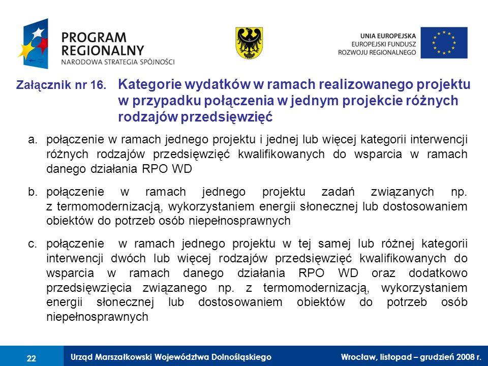 Urząd Marszałkowski Województwa Dolnośląskiego Wrocław, 6 czerwca 2008 r. 22 Załącznik nr 16. Kategorie wydatków w ramach realizowanego projektu w prz
