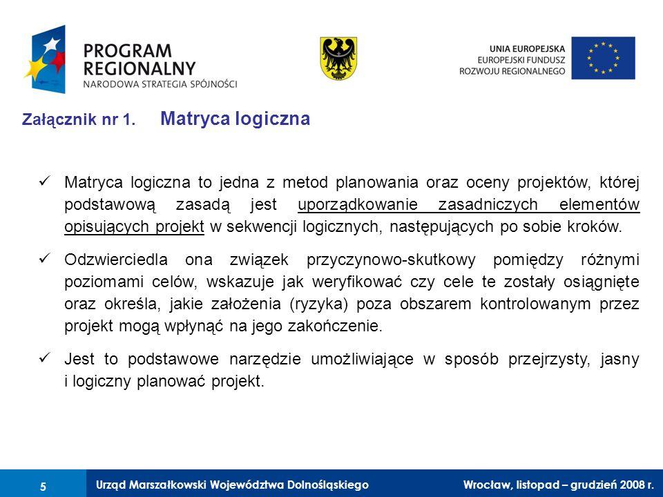 Urząd Marszałkowski Województwa Dolnośląskiego Wrocław, 6 czerwca 2008 r. 5 Załącznik nr 1. Matryca logiczna Matryca logiczna to jedna z metod planowa
