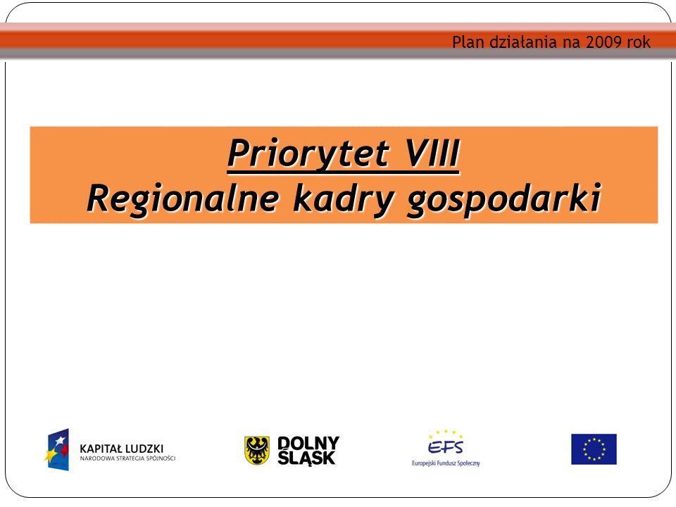 Plan działania na 2009 rok Priorytet VIII Regionalne kadry gospodarki