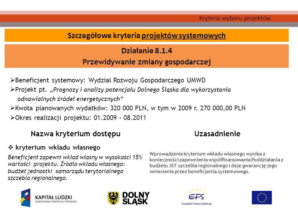 Kryteria wyboru projektów Beneficjent systemowy: Wydział Rozwoju Gospodarczego UMWD Projekt pt.