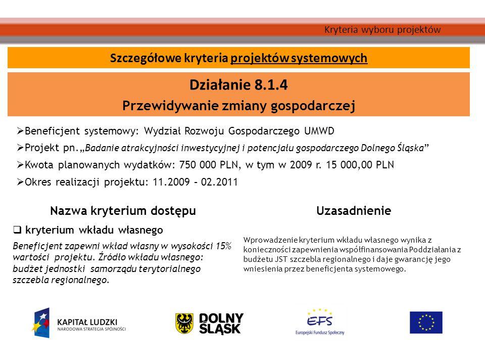 Kryteria wyboru projektów Beneficjent systemowy: Wydział Rozwoju Gospodarczego UMWD Projekt pn.