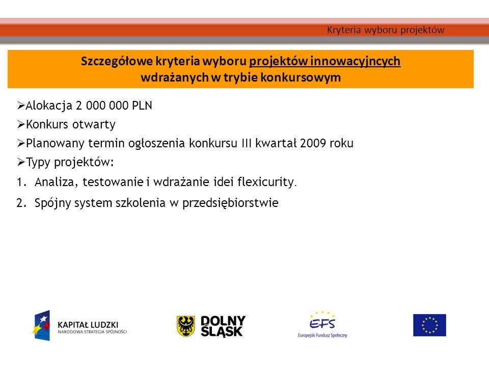 Kryteria wyboru projektów Szczegółowe kryteria wyboru projektów innowacyjncych wdrażanych w trybie konkursowym Alokacja 2 000 000 PLN Konkurs otwarty Planowany termin ogłoszenia konkursu III kwartał 2009 roku Typy projektów: 1.Analiza, testowanie i wdrażanie idei flexicurity.
