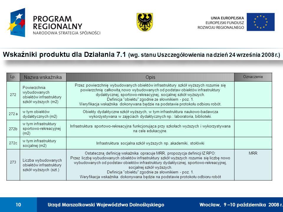 Urząd Marszałkowski Województwa Dolnośląskiego27 lutego 2008 r.10 01 Urząd Marszałkowski Województwa Dolnośląskiego10Wrocław, 9 –10 października 2008 r.