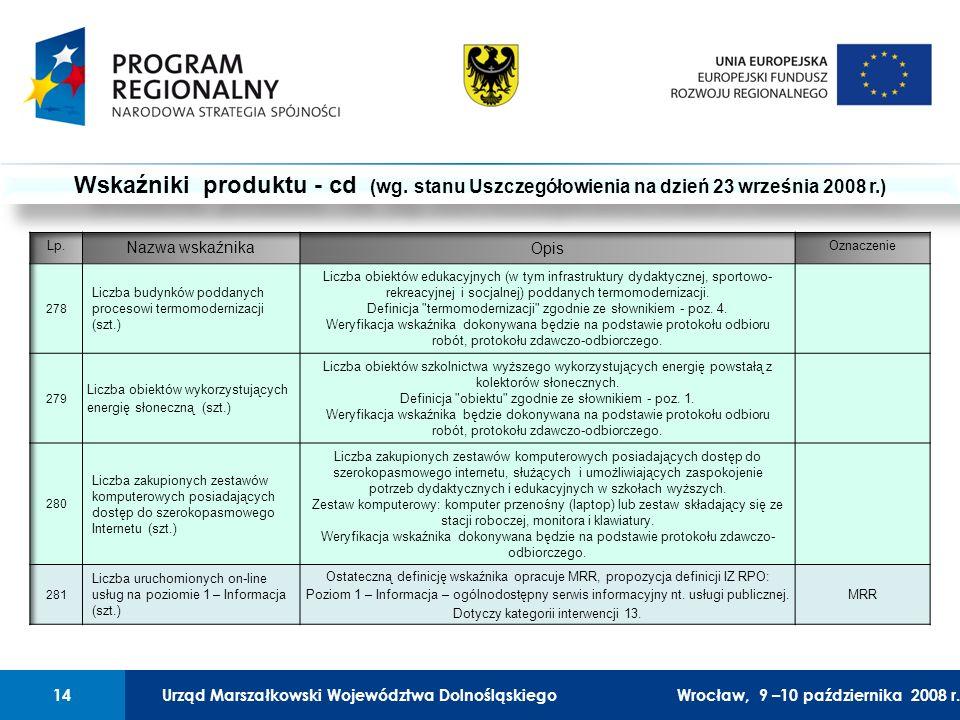 Urząd Marszałkowski Województwa Dolnośląskiego27 lutego 2008 r.14 01 Urząd Marszałkowski Województwa Dolnośląskiego14Wrocław, 9 –10 października 2008 r.