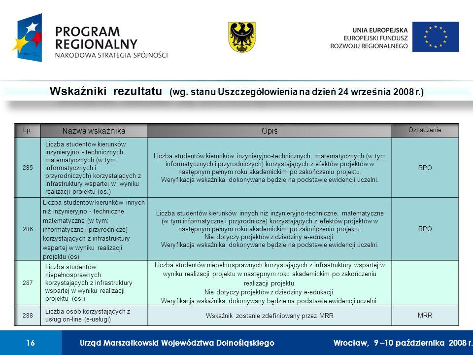 Urząd Marszałkowski Województwa Dolnośląskiego27 lutego 2008 r.16 01 Urząd Marszałkowski Województwa Dolnośląskiego16Wrocław, 9 –10 października 2008 r.