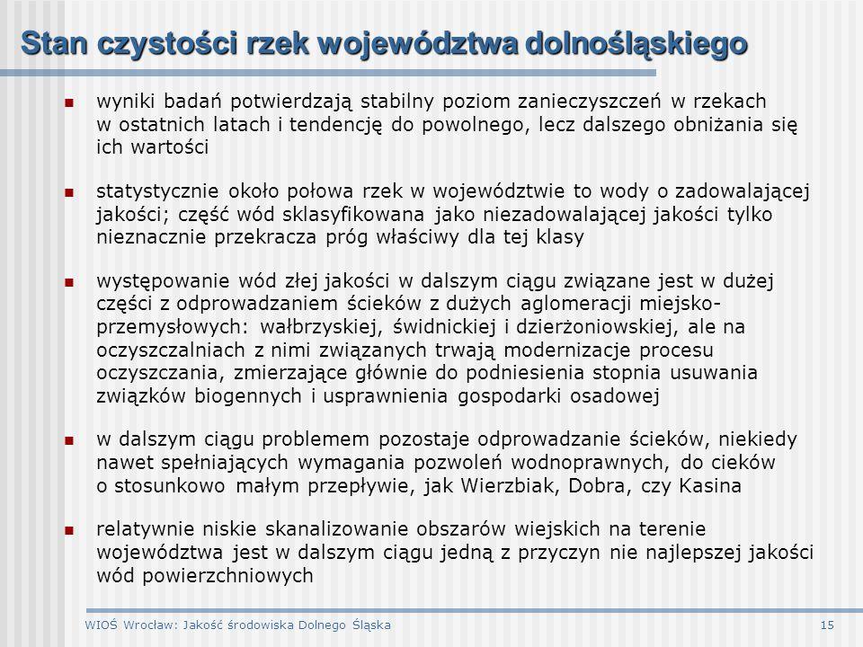 WIOŚ Wrocław: Jakość środowiska Dolnego Śląska15 Stan czystości rzek województwa dolnośląskiego wyniki badań potwierdzają stabilny poziom zanieczyszcz