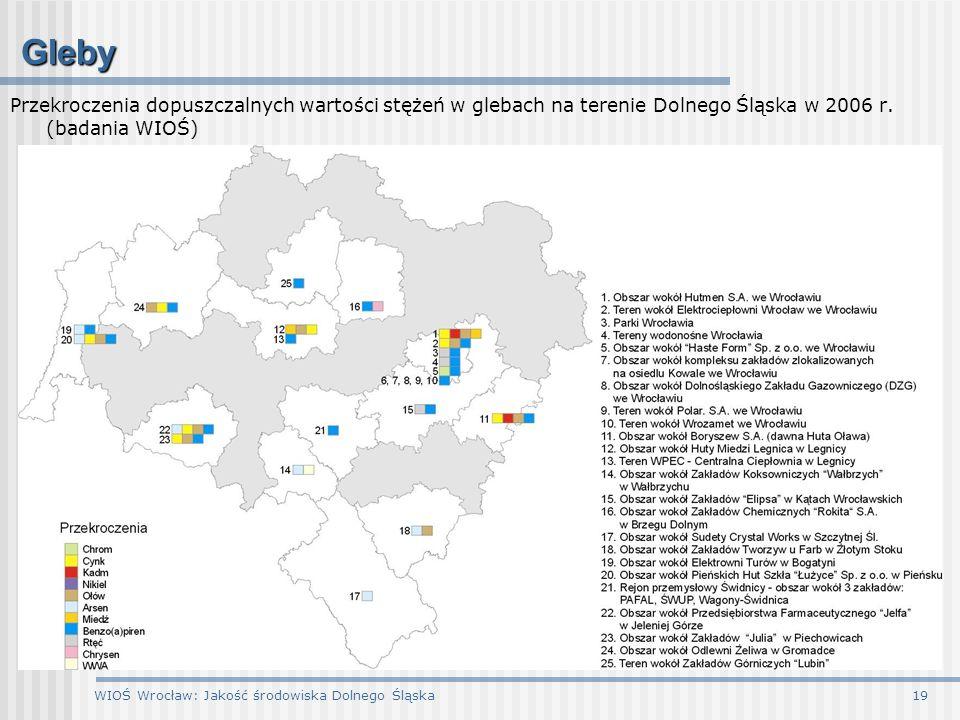 WIOŚ Wrocław: Jakość środowiska Dolnego Śląska19 Gleby Przekroczenia dopuszczalnych wartości stężeń w glebach na terenie Dolnego Śląska w 2006 r. (bad