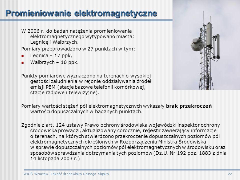 WIOŚ Wrocław: Jakość środowiska Dolnego Śląska22 Promieniowanie elektromagnetyczne W 2006 r. do badań natężenia promieniowania elektromagnetycznego wy