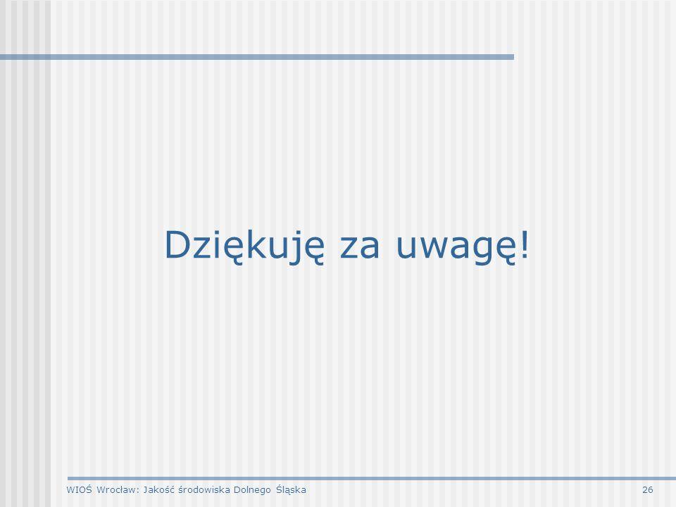 WIOŚ Wrocław: Jakość środowiska Dolnego Śląska26 Dziękuję za uwagę!