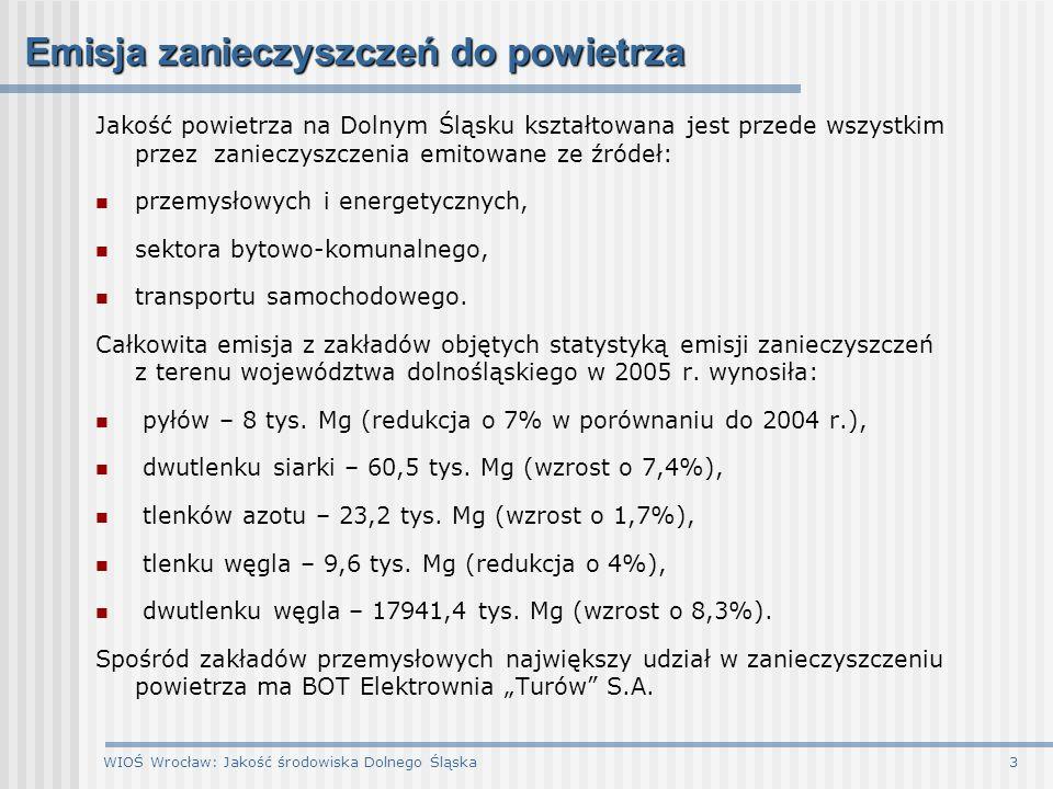 WIOŚ Wrocław: Jakość środowiska Dolnego Śląska3 Emisja zanieczyszczeń do powietrza Jakość powietrza na Dolnym Śląsku kształtowana jest przede wszystki