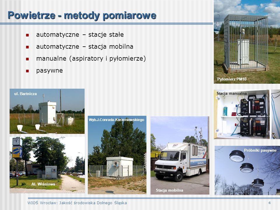 WIOŚ Wrocław: Jakość środowiska Dolnego Śląska4 automatyczne – stacje stałe automatyczne – stacja mobilna manualne (aspiratory i pyłomierze) pasywne P