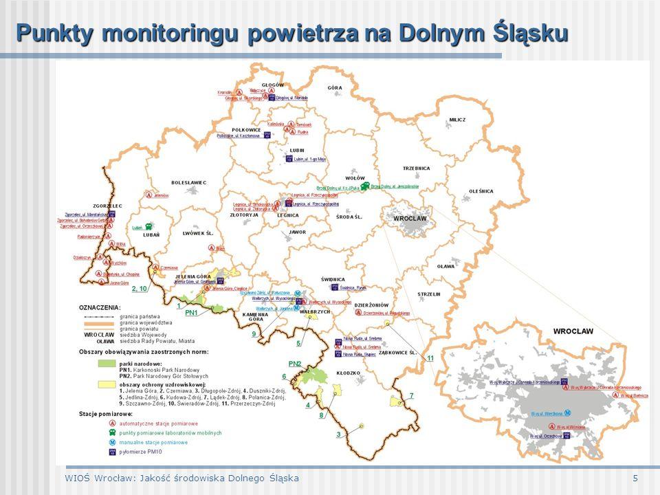 WIOŚ Wrocław: Jakość środowiska Dolnego Śląska6 Punkty monitoringu powietrza na Dolnym Śląsku Na terenie województwa dolnośląskiego w 2006 r.