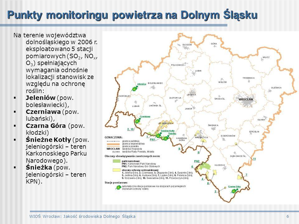 WIOŚ Wrocław: Jakość środowiska Dolnego Śląska7 Pomiary pasywne SO 2 i NO 2 w powietrzu dwutlenek siarkidwutlenek azotu Rozkłady stężeń średniorocznych na podstawie pomiarów prowadzonych metodą pasywną w sieci 163 punktów pomiarowych: