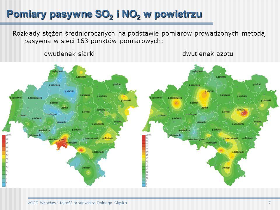 WIOŚ Wrocław: Jakość środowiska Dolnego Śląska8 Jakość powietrza na Dolnym Śląsku na przeważającym obszarze występują niskie stężenia dwutlenku siarki, tlenku węgla i metali ciężkich jednym z najbardziej istotnych obecnie problemów jest wysoki poziom zanieczyszczenia powietrza pyłem zawieszonym PM10 oraz w pobliżu dróg o dużym natężeniu ruchu – dwutlenkiem azotu, najwyższe stężenia większości zanieczyszczeń notowano w miesiącu styczniu – w dniach o bardzo niskich temperaturach powietrza maksymalne stężenia ozonu notowano natomiast w okresie letnim podczas upalnych dni ponadnormatywny poziom stężeń zarejestrowano dla: dwutlenku siarki w 1 stacji (Szczawno-Zdrój) dwutlenku azotu w 1 stacji stałej i w 2 punktach pasywnych (Wrocław) pyłu zawieszonego PM10 na 12 stanowiskach pomiarowych ozonu w 3 stacjach tlenku węgla w 1 stacji (Jelenia Góra-Cieplice) benzo(a)pirenu (szczególnie widoczny w okresie grzewczym) przekroczenie zanotowano również w przypadku ozonu w stacji na Czarnej Górze w odniesieniu do normy obowiązującej dla ochrony roślin (AOT40)