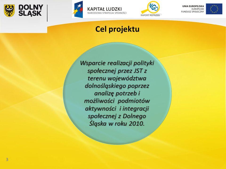 3 Cel projektu Wsparcie realizacji polityki społecznej przez JST z terenu województwa dolnośląskiego poprzez analizę potrzeb i możliwości podmiotów aktywności i integracji społecznej z Dolnego Śląska w roku 2010.