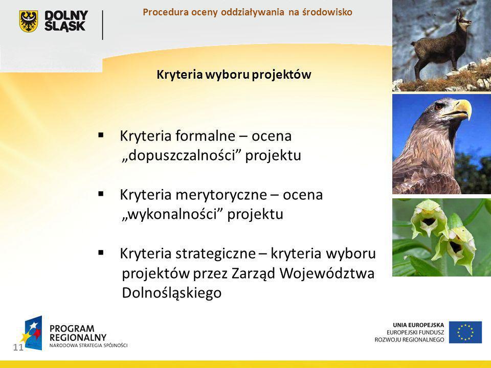 11 Kryteria formalne – ocena dopuszczalności projektu Kryteria merytoryczne – ocena wykonalności projektu Kryteria strategiczne – kryteria wyboru projektów przez Zarząd Województwa Dolnośląskiego Kryteria wyboru projektów Procedura oceny oddziaływania na środowisko